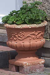 Decorated Clay Urn - Italian style