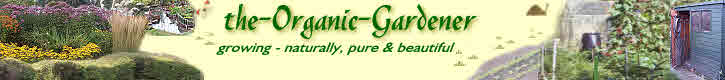 Logo for organic gardening on garden tool shed